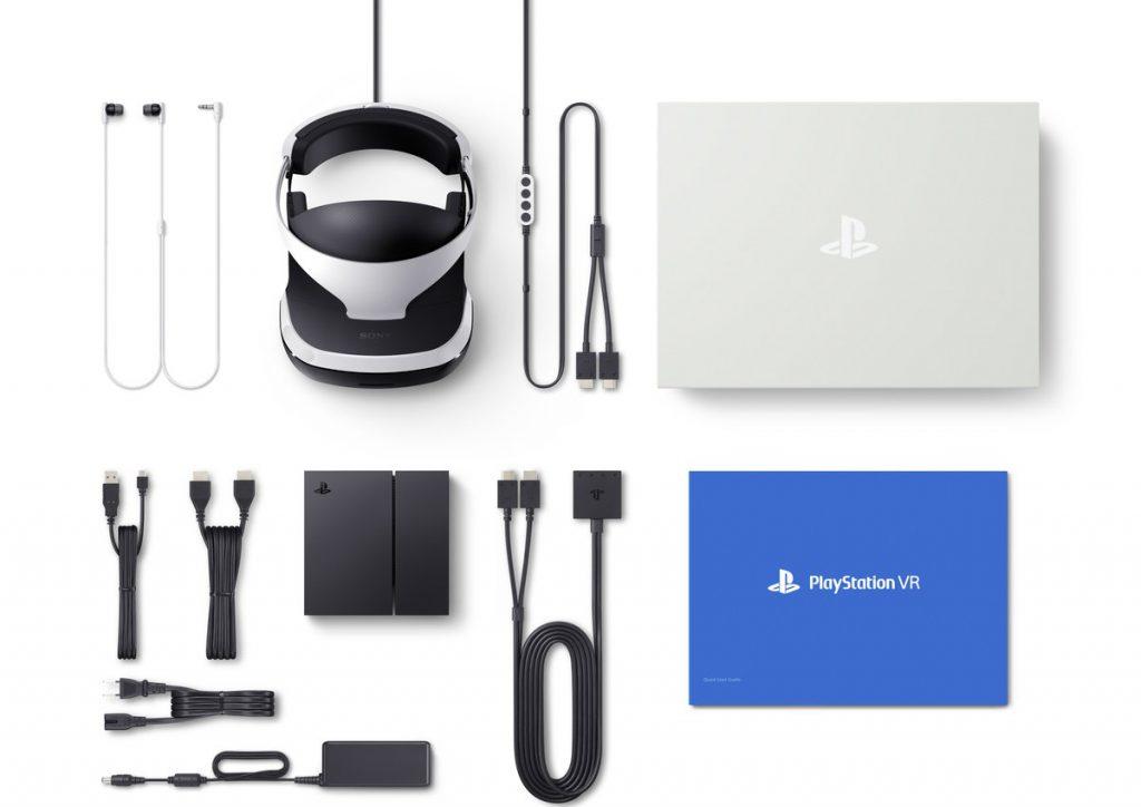 De inhoud van de Sony PlayStation VR headset doos.
