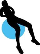 Buikspier oefeningen op een zitbal.
